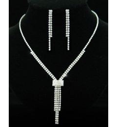 Bridal Jewellry Set Bridal Wedding Party Rhinestone Silver Plated Necklace Earrings