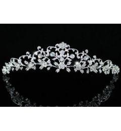 Silver Plated Vintage Style Swarovski Clear Crystal Bridal Tiara
