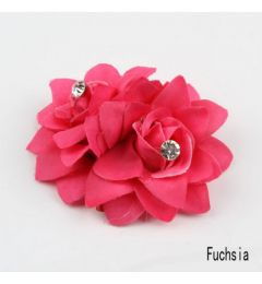 Pretty Twin Hair Flower Clip in Fuchsia