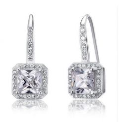 Created Diamond Earrings for Bridal Wedding Bridesmaid Jewelry 925 Sterling Silver