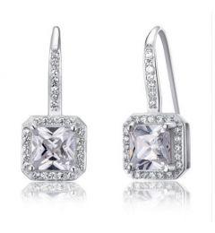 """Νυφικά Σκουλαρίκια από Συνθετικό Διαμάντι - 925 Ασήμι """"Sherry"""""""