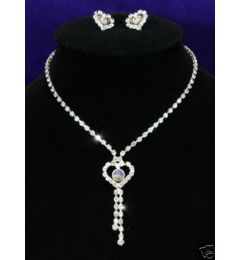 Bridal Jewellry Set Crystal Necklace & Earrings Heart Design