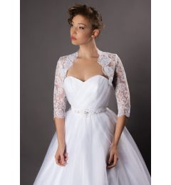 "Beautiful French Lace 3/4 Sleeve Bridal Jacket in White or Ivory ""Abigail"""
