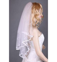 2 Tier Elbow Length White Bridal Veil with Lace Corded Edges