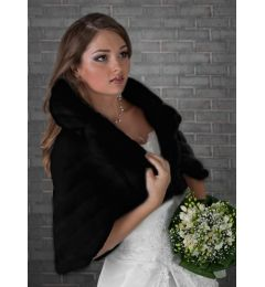 Faux Fur Cape, Bolero in Black