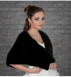 Bridal Faux Fur Wrap in Black