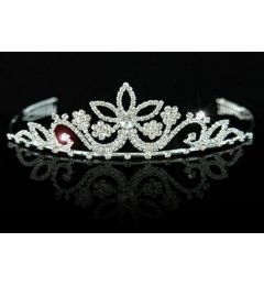Silver Plated Bridal Tiara with Bright Clear Crystals