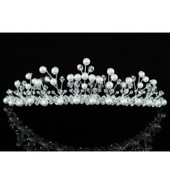 "Bridal Wedding Pageant Sparkling Tiara with Pearls and Swarovski Crystal ""Phillipa"""