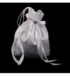 Bridesmaid - Flowergirl, Satin Crystal Rhinestone Dolly Bag Handbag in White