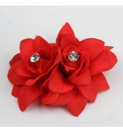 "Pretty Twin Hair Flower Clip in Red ""Lilou"""