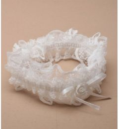 "Bridal Garter with Satin Ribbon and Lace in White or Ivory ""Lizaki"""