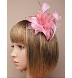 Dusky Pink Hair Flower and Feather Fascinator on a Clear Comb