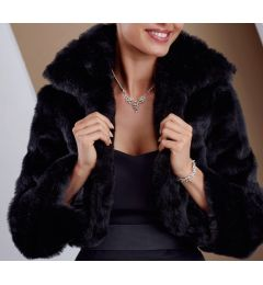 "Faux Fur Cape, in Black ""Nuka"""