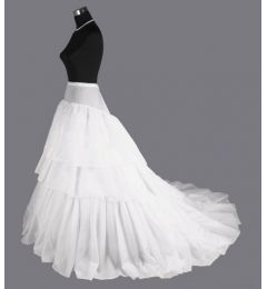 2-Hoop Long Trailing Petticoat, Double Train Crinoline, Prom Underskirt, size S-XL