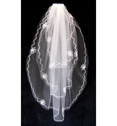 "3 tier Thigh Length White or Ivory Bridal Veil with Applique Edge ""Anna-Marie"""