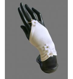 "Satin White Fingerless Wedding, Bridal, Gloves with 3 Crystals and Flowers ""Daisy"""