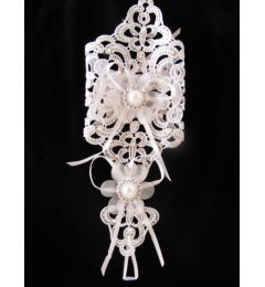 "Pair of Bridal Gloves with Beautiful Lace, Crystals and Ribbon in White or Ivory ""Harika"""