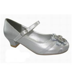 Girls SILVER  Satin Bridesmaid- Party Dress Shoes Size 24 - With Little Heels