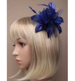Royal Blue Hair Flower and Feather Fascinator on a Clear Comb