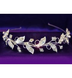 "Silver Plated Bridal Wedding Leaf Leaves Crystal Headband Tiara ""Shemina"""