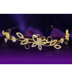 "Gold plated Bridal Wedding Leaf Leaves Crystal Headband Tiara ""Jazzy"""