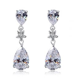 "925 Sterling Silver with Stimulated Diamond Bridal Wedding Bridesmaid Earrings Dangle ""Holly"""