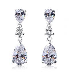 """925 Ασήμι Πανέμορφα Σκουλαρίκια με Τεχνητό Διαμάντι """"Holly"""""""