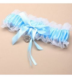 "Blue Satin Ribbon Bridal Garter with Crystal Heart ""Bessie"""