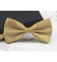 "Older Boys, Mens Beige - Gold Satin Bow Tie ""Henry"""