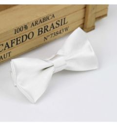 "Boys White Satin Bow Tie ""Dimi"""