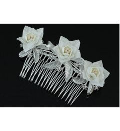 "Bridal Wedding Ivory Fabric Flower & Rhinestone Hair Comb ""Arietta"""