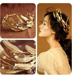 "Ancient Greek - Roman Style Gold Coloured Olive Leaf and Pearl Bridal, Wedding Tiara  ""Grecian"""