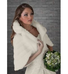 "Faux Fur Bridal Cape, Bolero in Ivory ""Icy"""