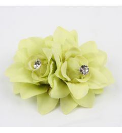"Pretty Twin Hair Flower Clip in Lime ""Lilou"""
