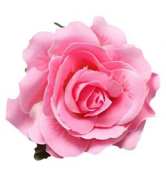 "Pink Rose Hair Flower, Broach, Clip ""Polyantha"""