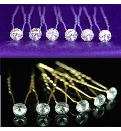 "Set of 6 Silver or Gold Plated Hair Pins with Clear Swarovski Crystals ""Syra"""