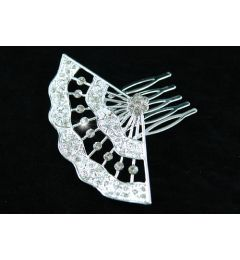 "Bridal Wedding Crystal Side / Back Hair Fan Style Comb ""Lea"""
