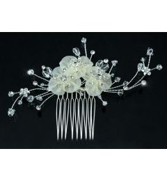"Bridal Wedding Handmade Fabric Flower Swarovski Crystal Hair Comb ""Lela"""