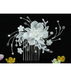 "Bridal Wedding Handmade Flower Swarovski Crystal Hair Comb  ""Chanel"""