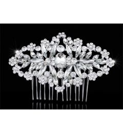 "Bridal Wedding Art Deco Handmade Crystal Vintage Style Hair Comb Slide  ""Carmen"""