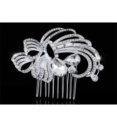 "Bridal Wedding Art Deco Handmade Swarovsky Crystal Vintage Style Hair Comb Slide  ""Alberta"""