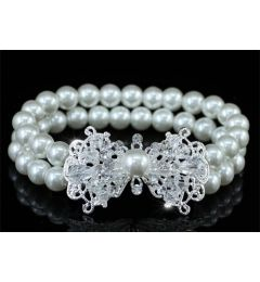 "Bridal Wedding White or Ivory Faux Pearl Art Deco Bracelet ""Monika"""