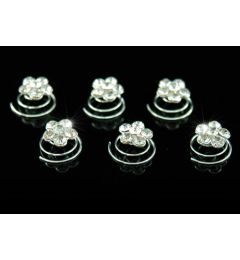 "Set of 6 silver Plated,Crystal Flower Hair Coils, Twists ""Harper"""