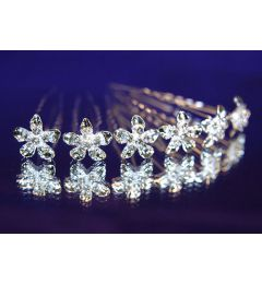 "Set of 6 Silver Plated Bridal Austrian Crystal Flower Hair Pins for Bride, Bridesmaid ""Arden"""