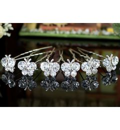 "Set of 6 Silver Plated Bridal Butterfly Crystal Hair Pins for Bride, Bridesmaid ""Ioulita"""