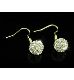 "Beautiful Gold Plated Swarovski Crystal Ball Dangly Earrings ""Alexa"""
