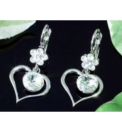 "Beautiful Swarovski Dangle Crystal Heart Earrings ""Valeria"""