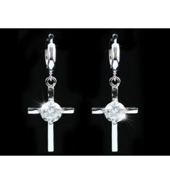 "Dangle Cross 1.5 Carat CZ Cubic Zirconia Earrings ""Myrto"""