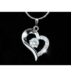 "White Gold Plated Heart Necklace with Swarovski Crystals ""Jojo"""