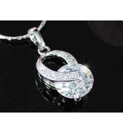 "3.5 Carat Rounds Cut CZ Simulated Diamond Pendant Necklace ""Leyla"""
